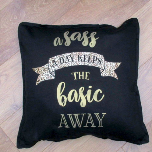 Black Canvas 'Sassy' Cushion